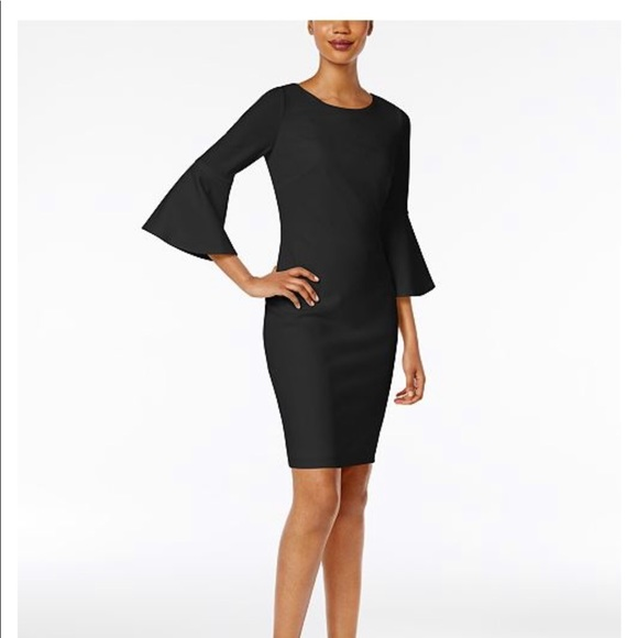 89e20a577463 Calvin Klein Dresses   Skirts - Calvin Klein Bell Sleeve Sheath Black Dress  👠